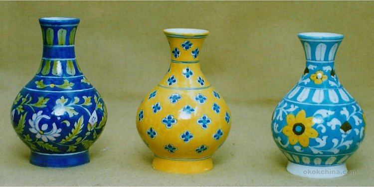 Flower vases blue pottery